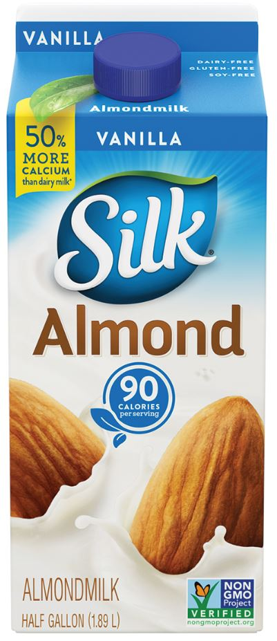 Silk Pure Almond Milk - nut milk, vegan milk substitutes, plant milk, lactose free milk, vegan milk alternatives, non dairy milk, dairy free milk