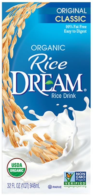 Rice Dream Organic Rice Drink - vegan milk substitutes, plant milk, lactose free milk, vegan milk alternatives, non dairy milk, dairy free milk