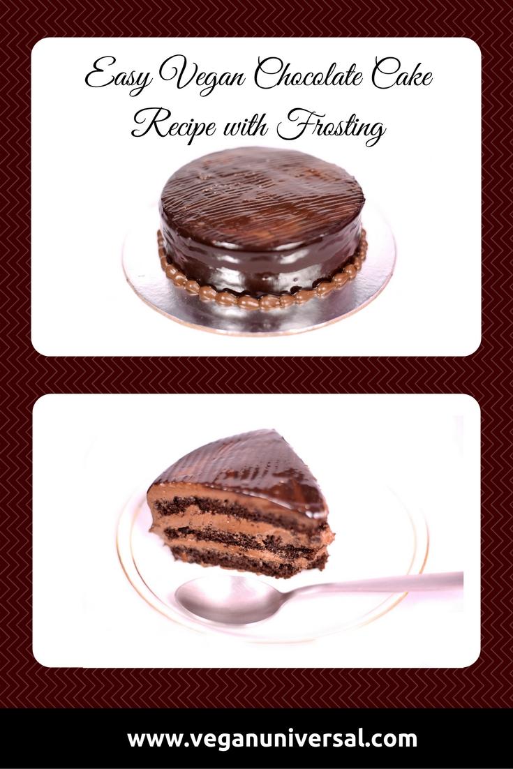 Vegan Chocolate Cake Recipe with Icing