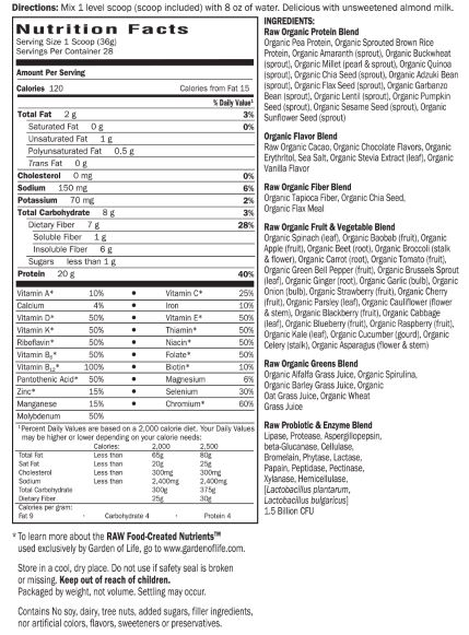 Nutrition Facts Sheet For Garden of Life Raw Organic Meal Replacement