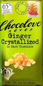 Chocolove Chocolate Bar, Ginger Crystallized in Dark Chocolate 65% Cocoa