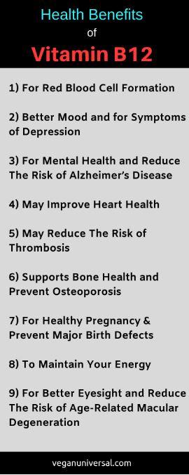 Pinterest Pin: Vitamin B12 Health Benefits & Symptoms of Deficiency