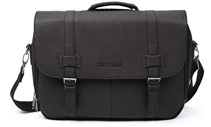 Men's Classic Vegan Faux Leather Briefcase/Laptop Messenger Bag