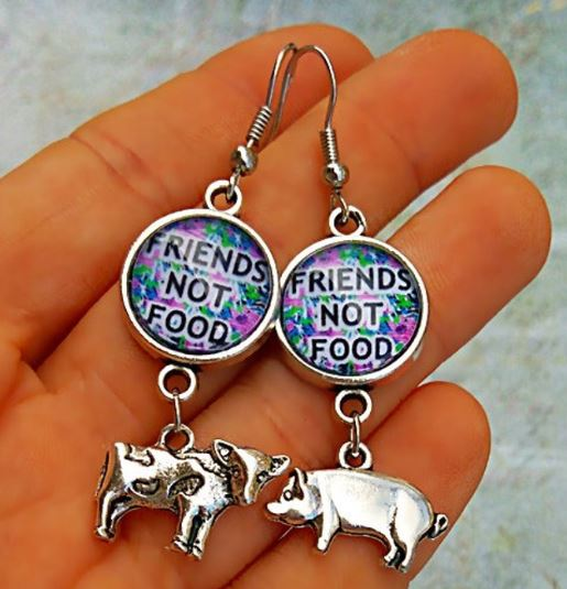 Friends Not Food (Cow, Pig)–Vegan Earrings with Vegan Message