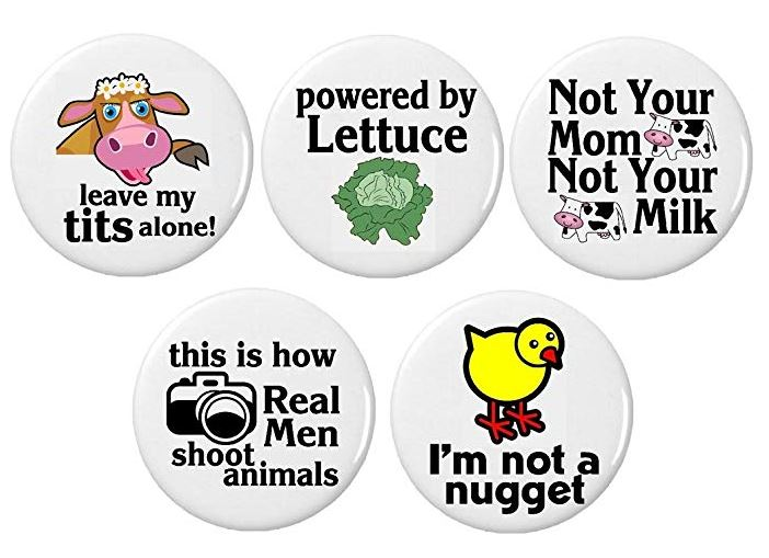 Set of 5 Vegan Quotes Pinback Buttons/Pins