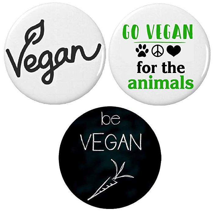 Set of 3 Vegan Pinback Buttons/Pins
