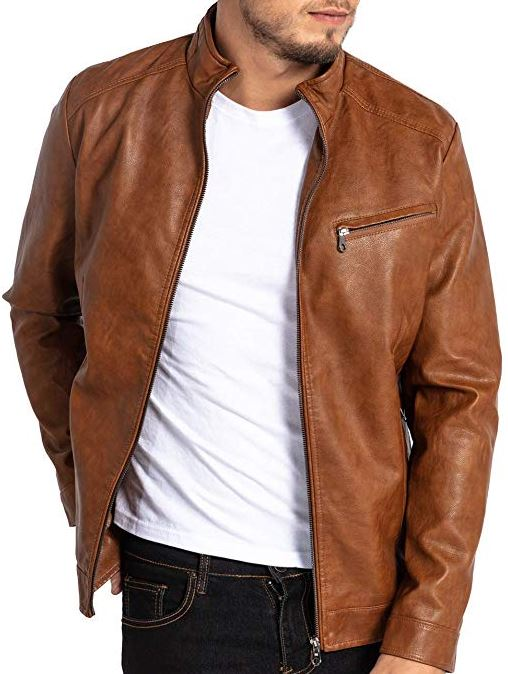 Men's Vegan Faux PU Leather Jacket