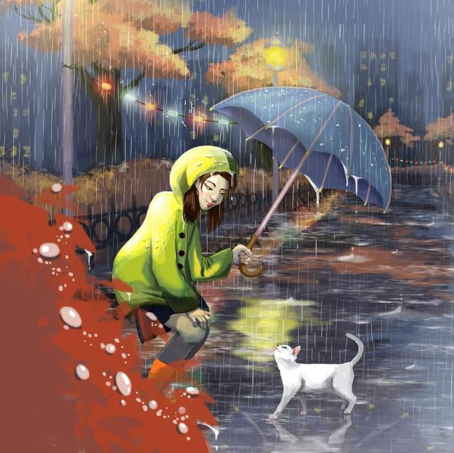 Signed Art Print of a Girl in the Rain Sheltering a Cat (Original Artwork)