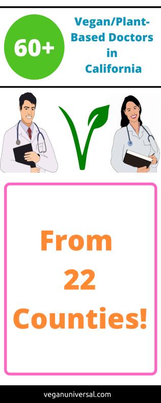 Pinterest pin: Vegan/Plant-Based Doctors/Physicians in California USA