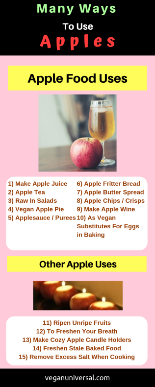 Pinterest Pin: Many Ways to Use Apples (15 Apple Fruit Uses & Recipe Ideas)